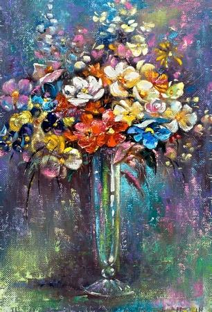 florero: Florero con un mont�n de flores
