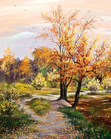 paintings on canvas: Autumn footpath along lake coast Stock Photo