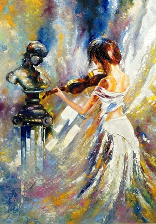oil on canvas: The girl playing a violin