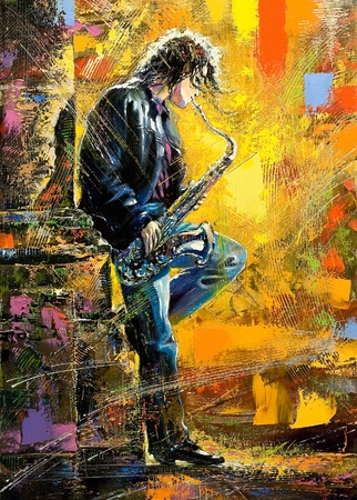 oil on canvas: The young guy playing a saxophone Stock Photo