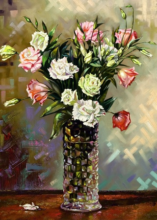 Still-life with a vase and flowers