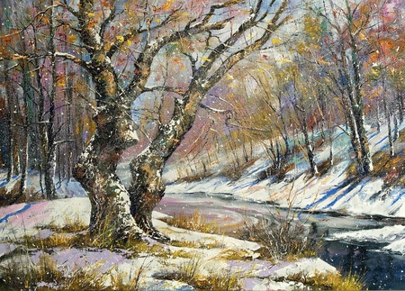 landscape painting: Winter landscape with wood and the river