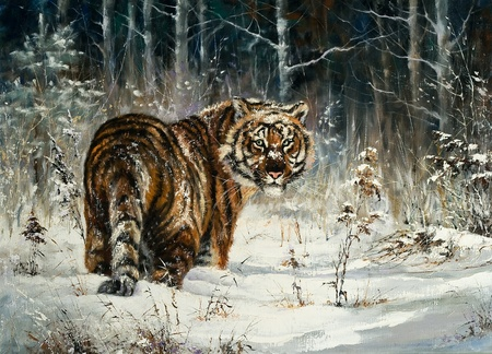 Landscape with a tiger in winter wood photo
