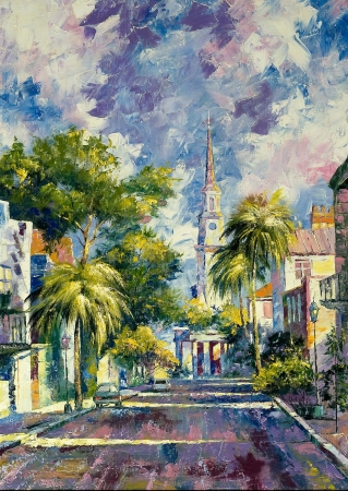 oil paintings: Summer day in a southern city