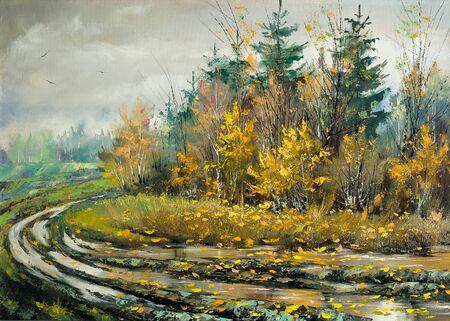 Impassable road to autumn wood photo