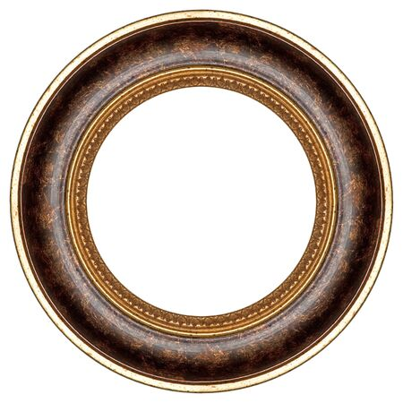 Oval gold picture frame with a decorative pattern  Stock Photo