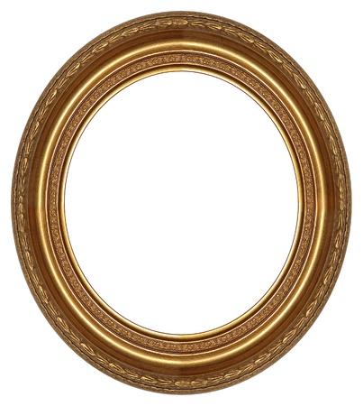 ovalo: Oval de oro de un cuadro con un patr�n decorativo Foto de archivo