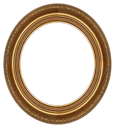 gold picture frame: Oval gold picture frame with a decorative pattern  Stock Photo