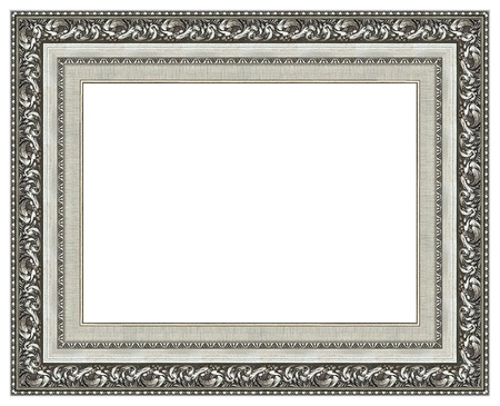Picture silver frame with a decorative pattern Stock Photo