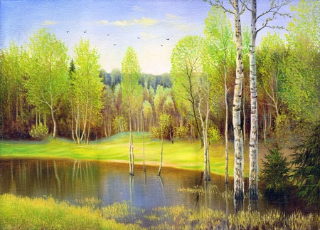 impressionism: Spring wood lake with trees and bushes