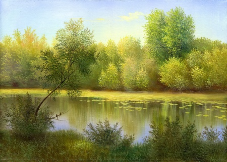 oil on canvas: Spring wood lake with trees and bushes