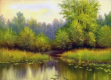 Spring wood lake with trees and bushes photo
