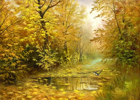 landscape painting: Pool on road to autumn wood Stock Photo
