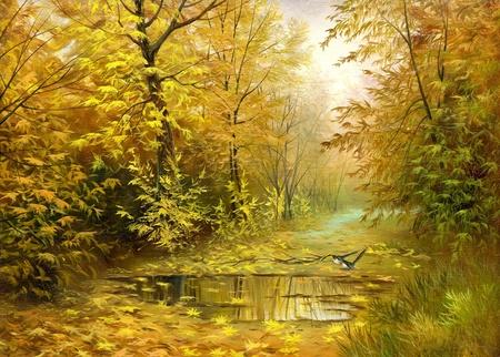 Pool on road to autumn wood Фото со стока