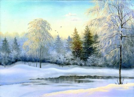 Not frozen lake in winter wood Фото со стока
