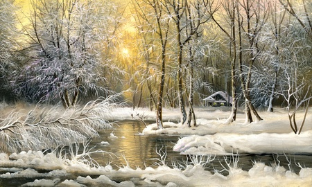 Winter landscape with the wood river Stock Photo - 9797307