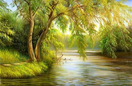 나무와 수풀이있는 여름 나무 호수