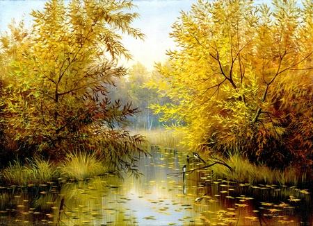 autumn wood lake with trees and bushes Фото со стока