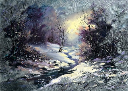 Landscape with winter wood small river Stock Photo - 9797336
