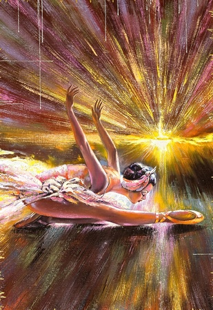 The ballerina soaring against the coming sun