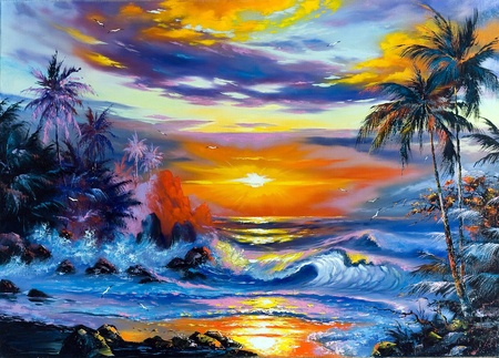 oil palm: Beautiful sea evening landscape
