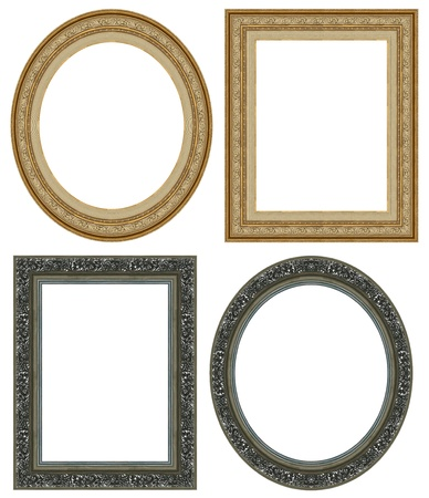 Oval and rectangular gold picture frame with a decorative pattern Standard-Bild