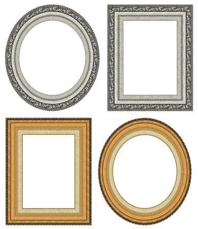 an oval: De oro ovalada y rectangular marco de la imagen con un patr�n decorativo