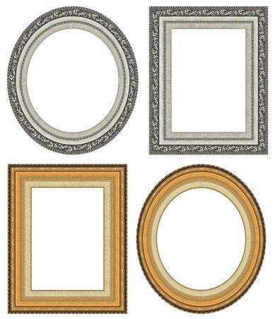 Oval and rectangular gold picture frame with a decorative pattern  photo