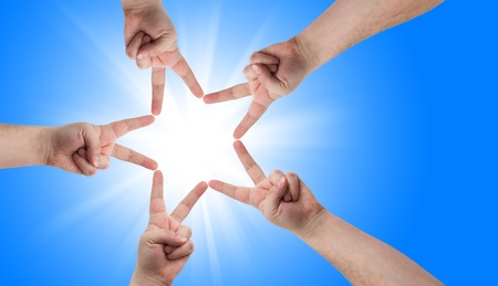 victory: Hands in the form of a star