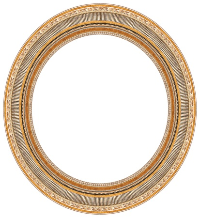 Oval gold picture frame with a decorative pattern  photo