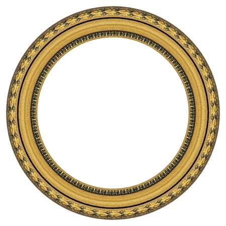 circular frame: Oval gold picture frame with a decorative pattern  Stock Photo