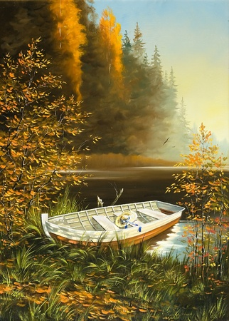 impressionism: Wooden boat on the bank of lake