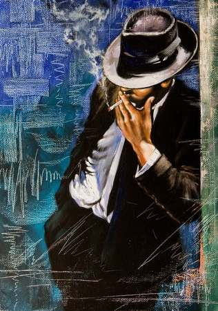 impressionism: Portrait of the man with a cigarette