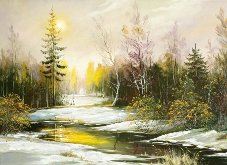 Picture, oil, canvas, the artist, painting, paints, drawing, a museum, an exhibition, a portrait, art, imagination, impressionism, painting, registration, autumn, spring, the river, snow, the sun, a decline, rising, wood, trees, winter
