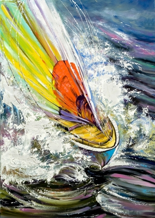 oil on canvas: The sailing boat rushing on waves Stock Photo