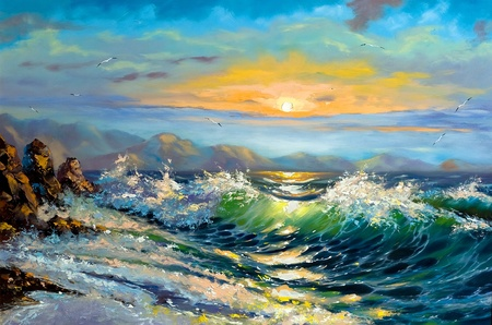oil paintings: The storm sea on a decline Stock Photo