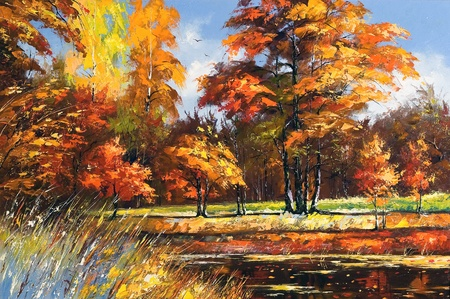 Autumn landscape on the bank of the river photo