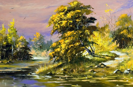 Gold autumn landscape