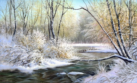 landscape painting: Winter landscape with the wood river Stock Photo