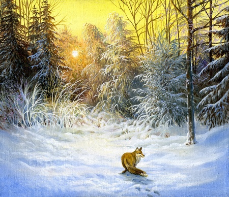 Winter landscape with a fox on a decline Stock Photo