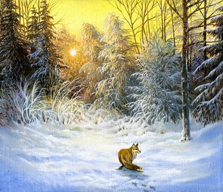 Winter landscape with a fox on a decline Standard-Bild