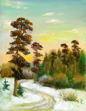 Landscape with road to winter wood photo