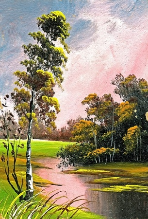 Summer landscape with a birch and lake Standard-Bild
