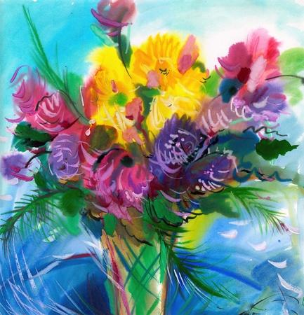 guache: Fondo plano de flores silvestres