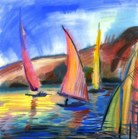 Sailing boats in the sea Stock Photo