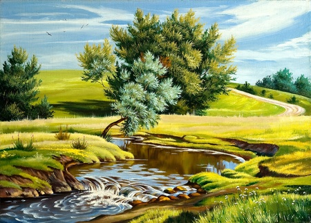 street painting: Summer landscape with the river Stock Photo