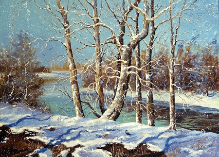 Winter landscape on the bank of the river Stock Photo