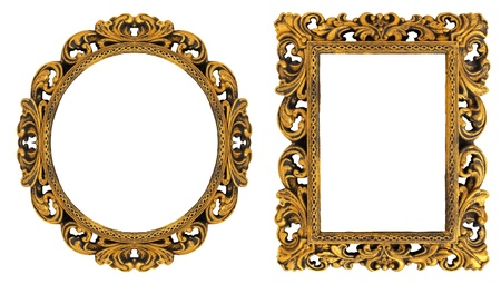 rectangular: Oval and rectangular gold picture frame with a decorative pattern