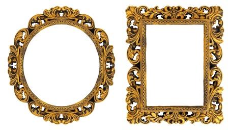 owalne: Owalne i prostokątne ramki do zdjęć złoto z ozdobnym wzorem