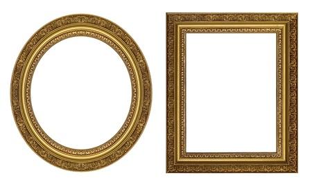 �valo: Marco de fotos de oro oval y rectangulares con un patr?n decorativo